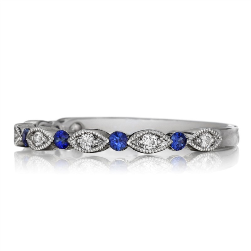 Henri Daussi Diamond and Sapphire Ring by Henri Daussi