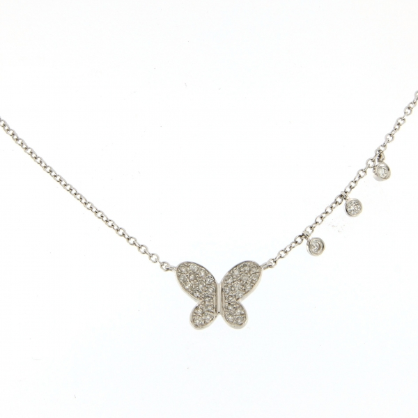 Meira T. Diamond Butterfly Charm Necklace by Meira T.