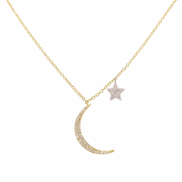 Meira T. Moon and Star Diamond Necklace by Meira T.
